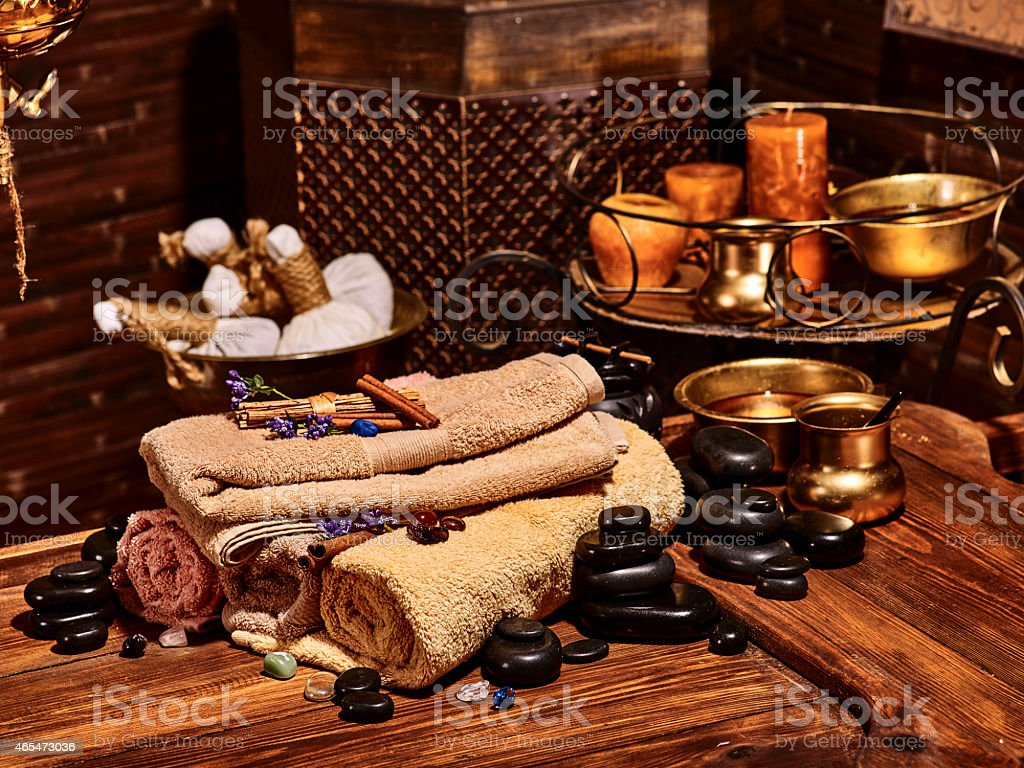 Ayurvedic spa massage still life stock photo