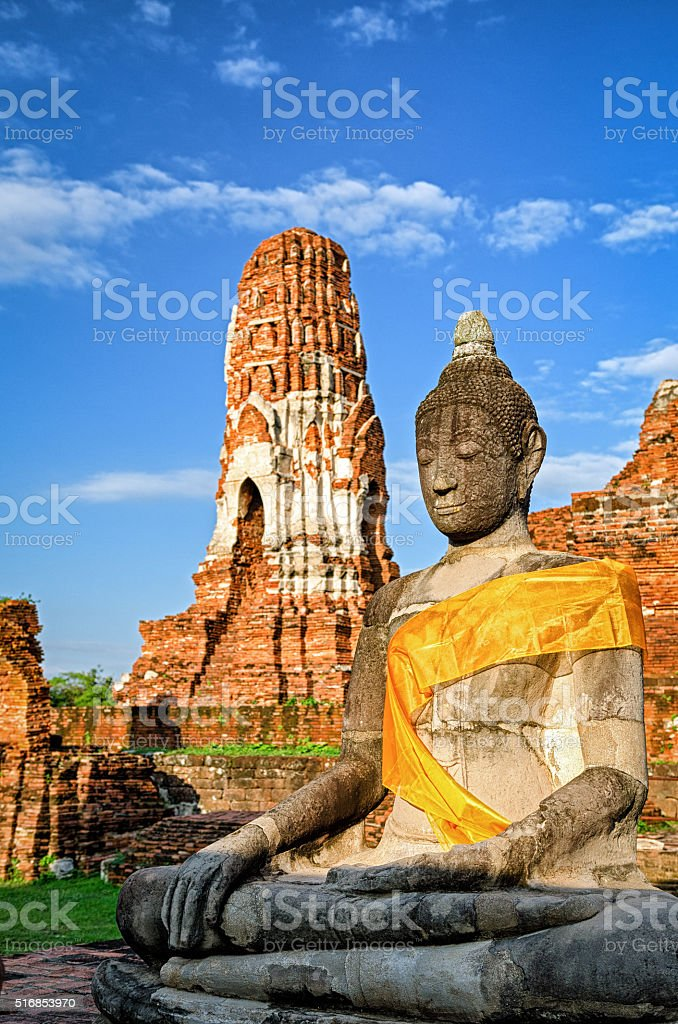 Ayutthaya (Thailand), Buddha statue in an old temple ruins stock photo