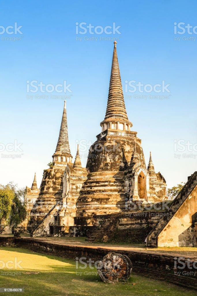 Ayutthaya historical park ancient kingdom stock photo