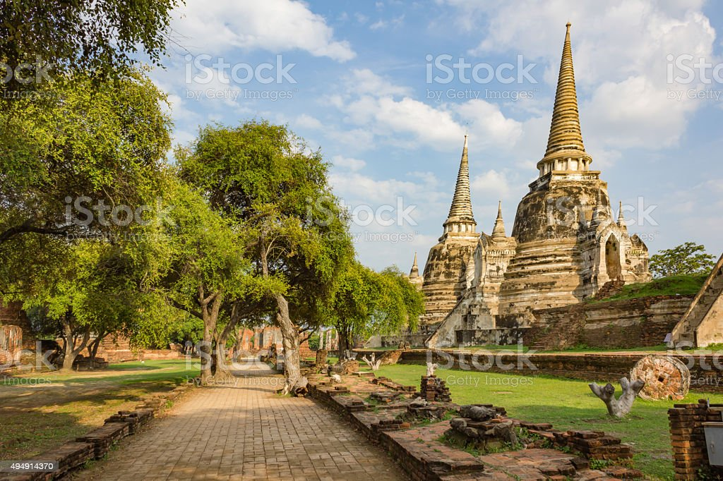 ayutthaya temple thailand stock photo