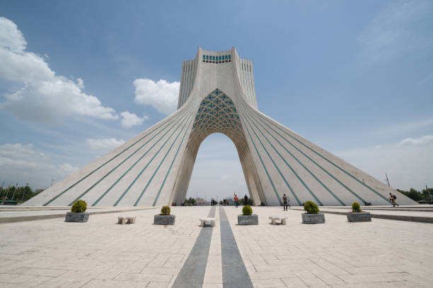 Azadi Tower located at Azadi Square in Tehran city stock photo