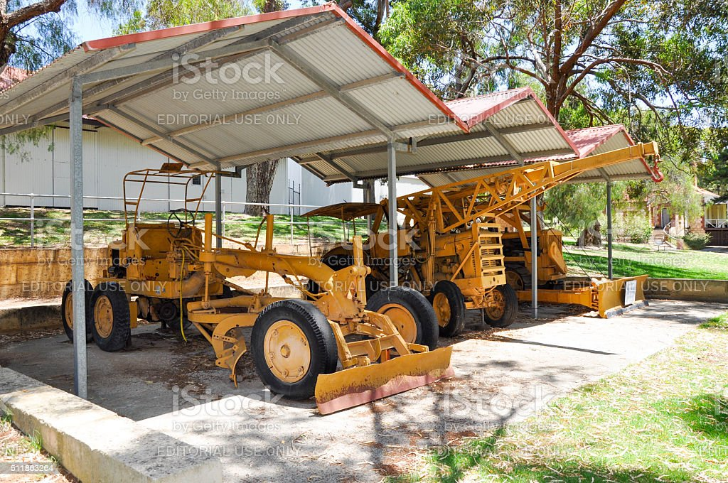 Hamilton Hill,WA,Australia-January 3,2016: Old farm equipment on...