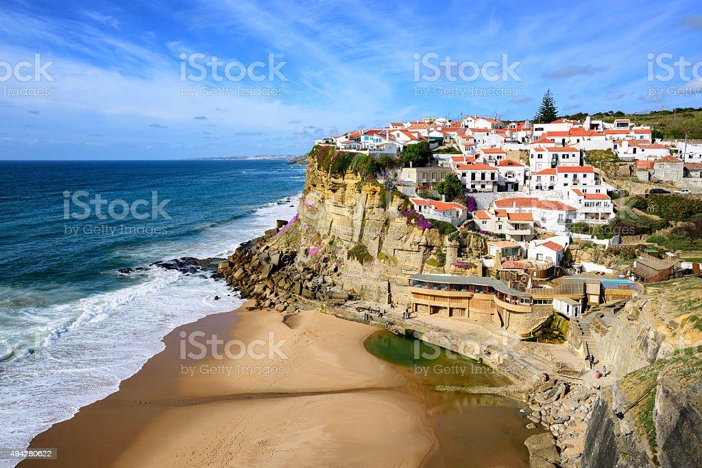 Azenhas do Mar, fishermen village on atlantic coast by Sintra stock photo