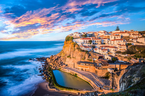 azenhas do mar, sintra near lisbon on a beautiful sunset - portugal stock photos and pictures