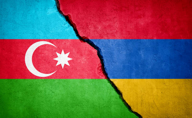 Azerbaijan and Armenia conflict Azerbaijan and Armenia conflict. Country flags on broken wall. Illustration. armenia country stock pictures, royalty-free photos & images