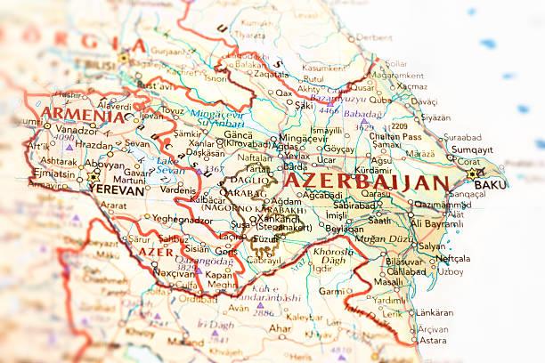 Azerbaijan and Armenia Map stock photo