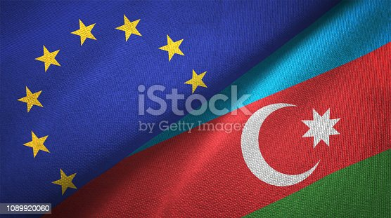 istock Azerbaijan and European Union two flags together realations textile cloth fabric texture 1089920060