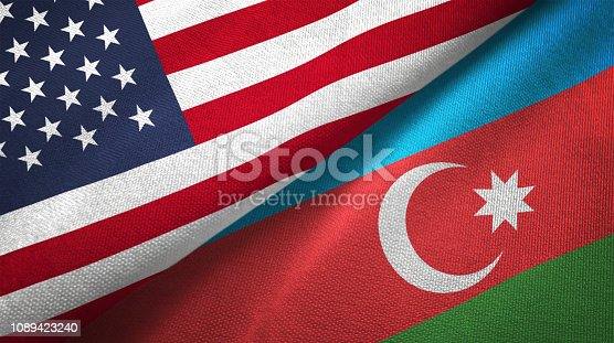 istock Azerbaijan and United States two flags together realations textile cloth fabric texture 1089423240