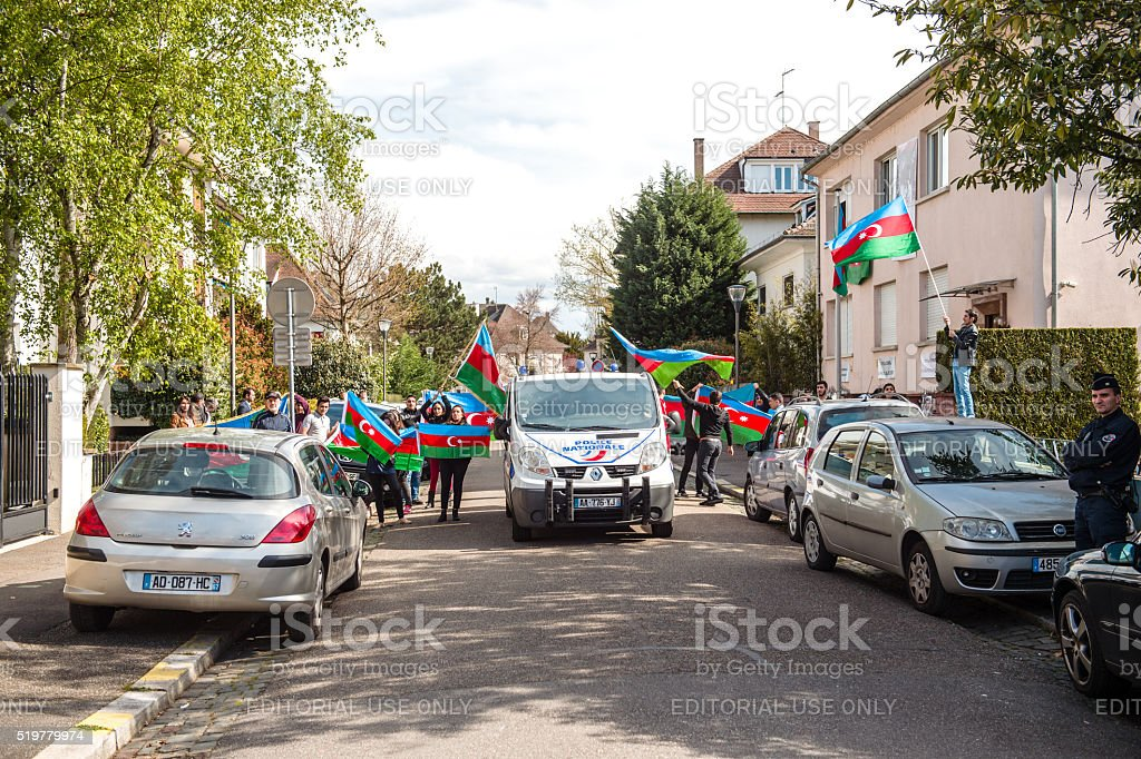 Azerbaijan Armenia conflict protest in front of Embassy stock photo