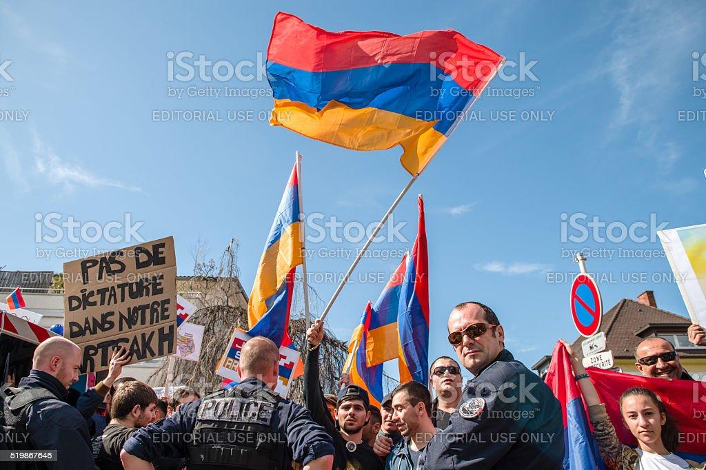 Azerbaijan Armenia conflict protest stock photo