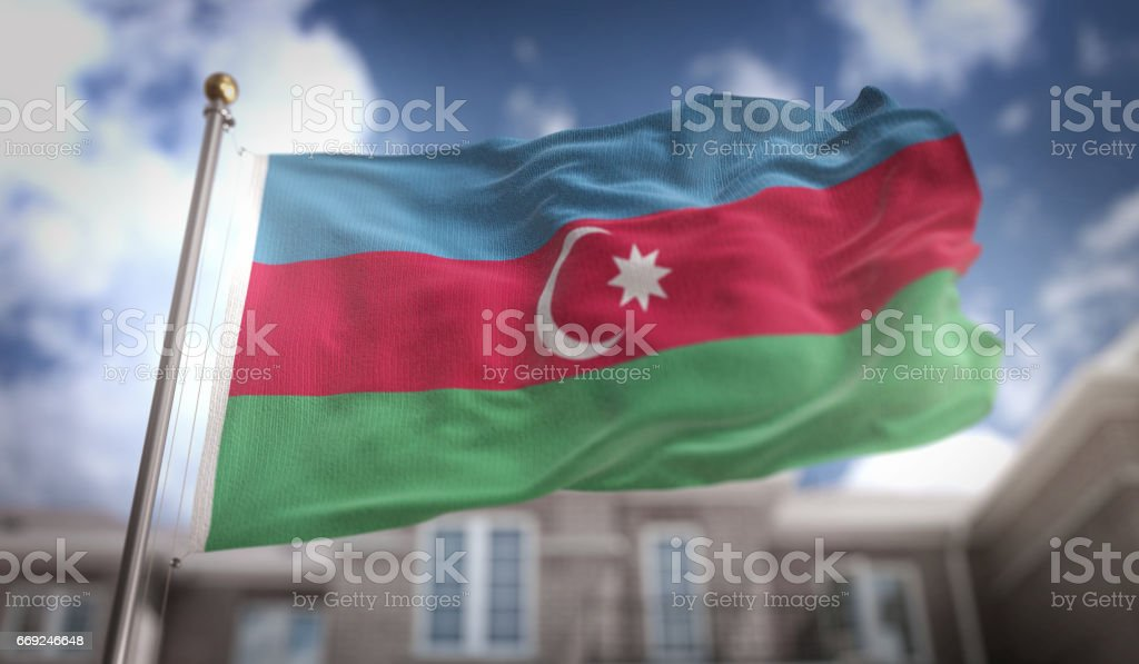 Azerbaijan Flag 3D Rendering on Blue Sky Building Background stock photo