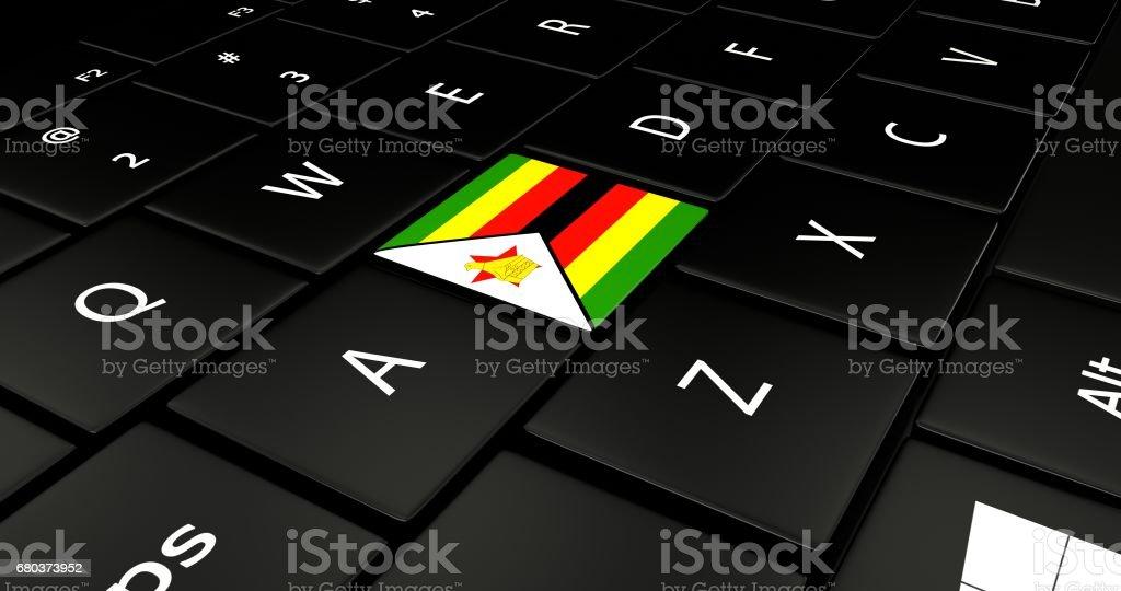 Azerbaijan flag button on laptop keyboard. royalty-free stock photo