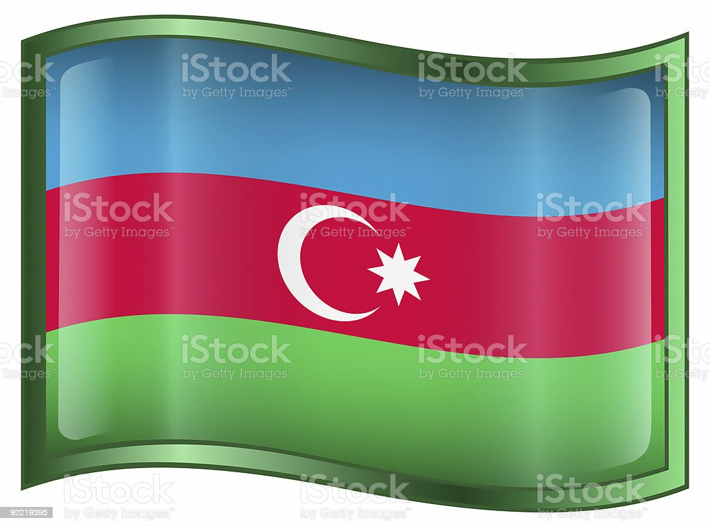 Azerbaijan Flag icon, isolated on white background. stock photo