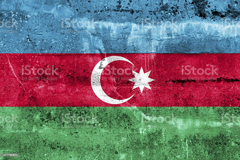 Azerbaijan Flag painted on grunge wall stock photo