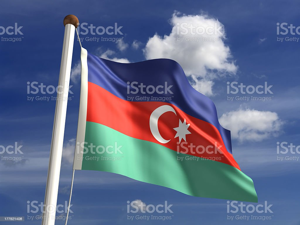 Azerbaijan flag (with clipping path) stock photo