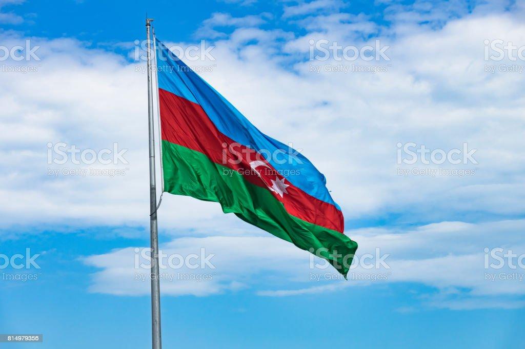 Azerbaijan Flag Azerbaijan flag with blue sky background. Azerbaijan Stock Photo