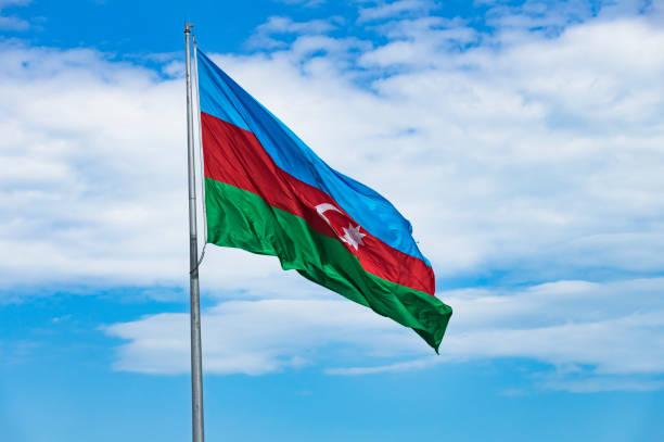 Azerbaijan Flag stock photo
