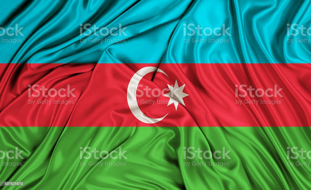 Azerbaijan flag - silk texture stock photo