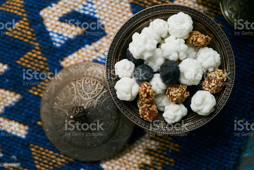 Azerbaijan national candies white nogul stock photo
