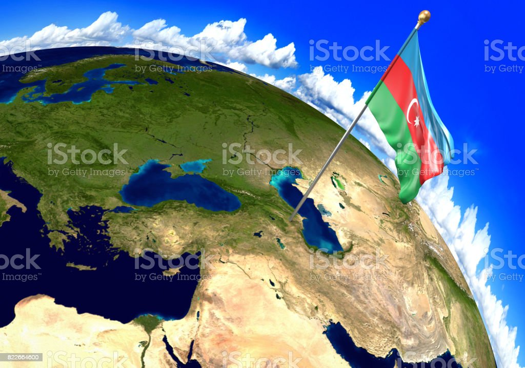 Azerbaijan national flag marking the country location on world map azerbaijan national flag marking the country location on world map 3d rendering parts of gumiabroncs Images
