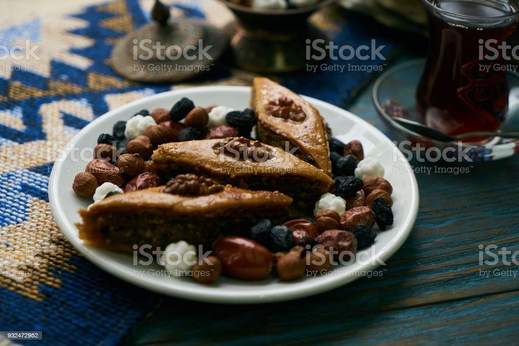 Azerbaijan national pastry pakhlava stock photo