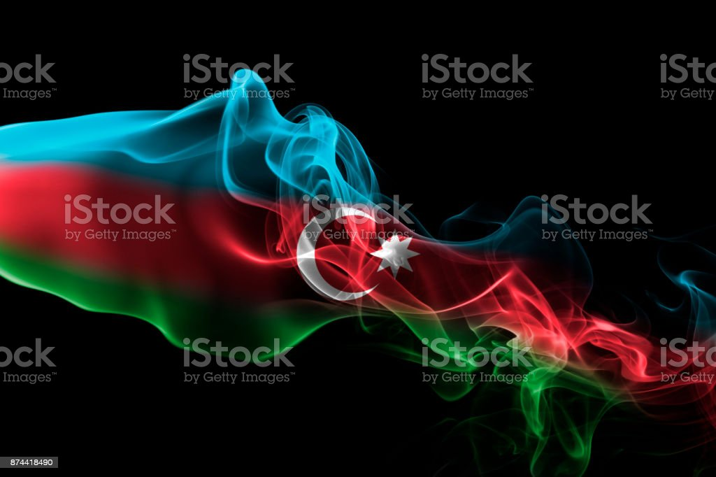 Azerbaijan smoke flag stock photo