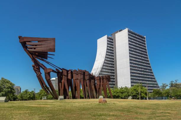 Azoreans (Acorianos) Monument and  Rio Grande do Sul Adminitrative Building or Centro Administrativo Fernando Ferrari (CAFF) - Porto Alegre, Rio Grande do Sul, Brazil stock photo