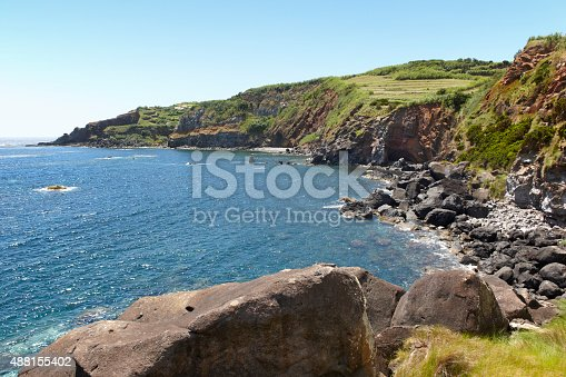 Azores coastline landscape in Sao Jorge island with atlantic ocean. Horizontal