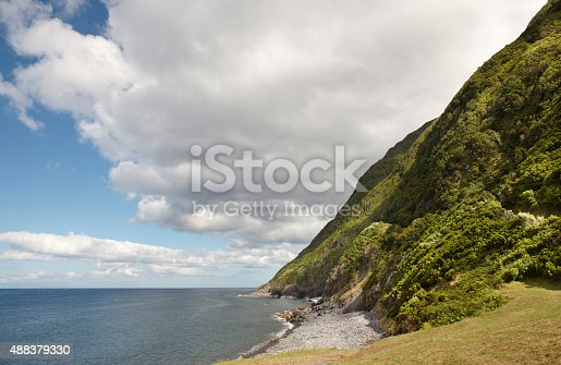 Azores coastline landscape in Sao Jorge island with atlantic ocean. Horizontal
