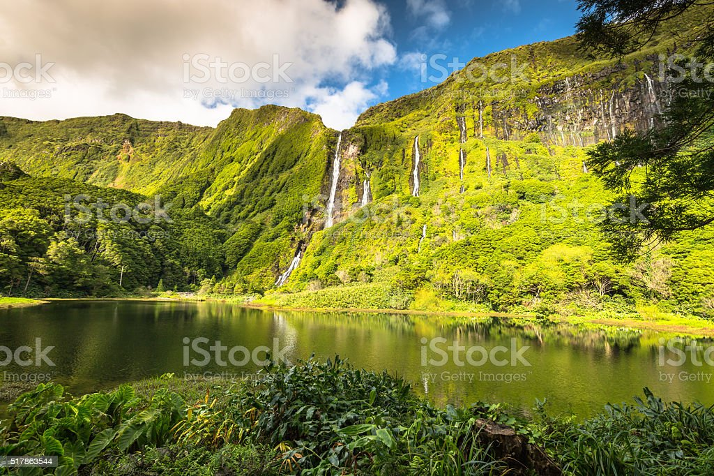 Azores landscape with waterfalls and cliffs in Flores island. stock photo