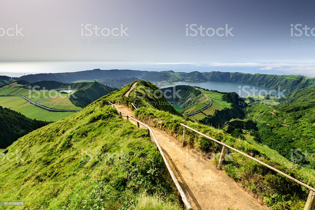 Azores magic lagoon landscape - foto de stock