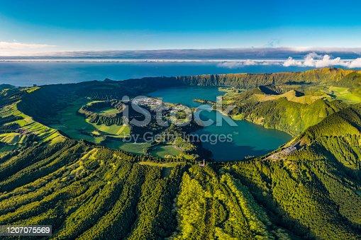 istock Azores Sao Miguel Miradouro da Vista do Rei - Sete Cidades - aerial drone view 1207075569