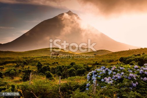 istock Azorian volcano Pico with  fog passing over 512601019