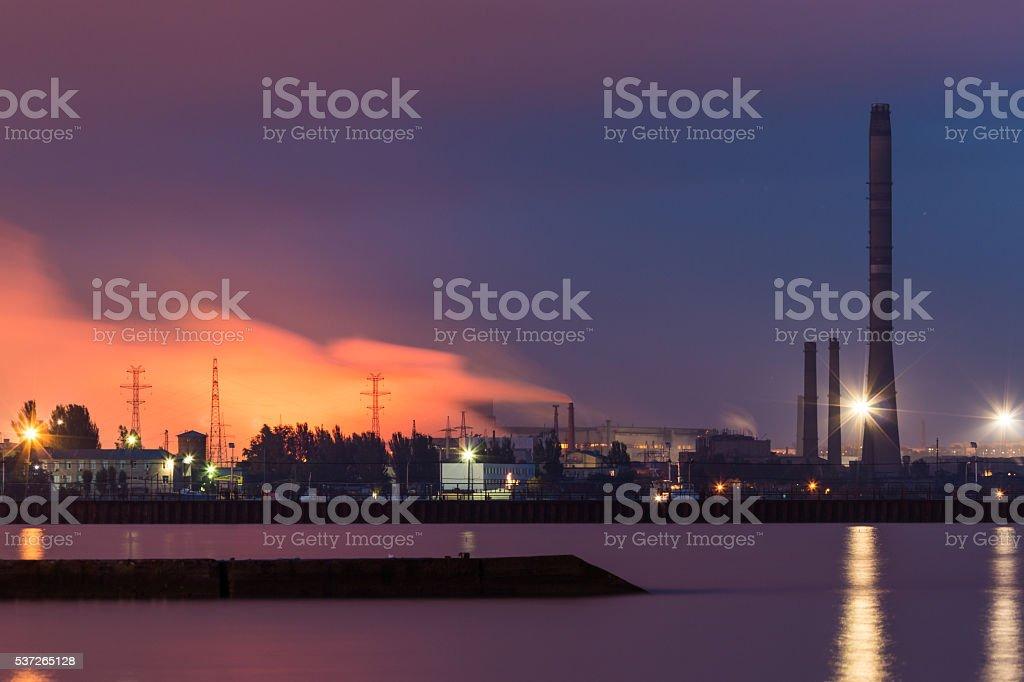 Azovstal Iron and Steel Works. Mariupol. Night photo. stock photo