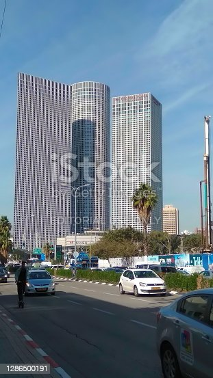 Tel Aviv, Israel - November 18, 2018 : Azrieli Center is a complex of skyscrapers. The center was originally designed by Israeli-American architect Eli Attia and after developer of center David Azrieli