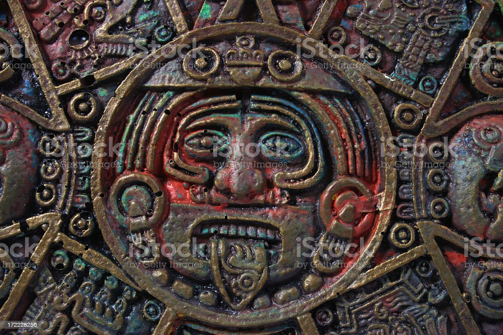 Aztec calendar center stock photo