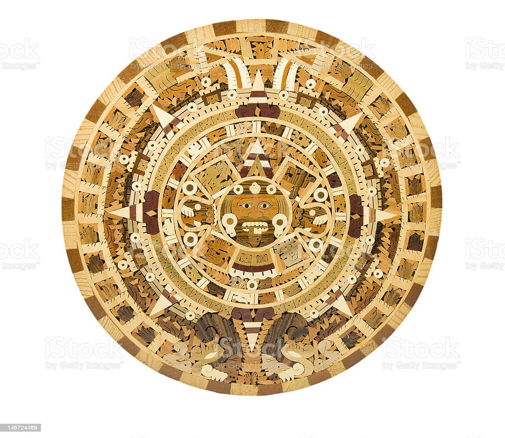 Aztec Calendar Depiction on a Wooden Panel royalty-free stock photo