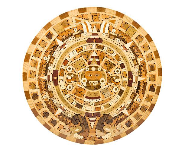 Aztec Calendar Depiction on a Wooden Panel stock photo