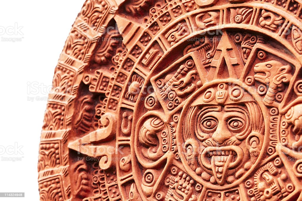 Aztec calendar Stone of the Sun stock photo