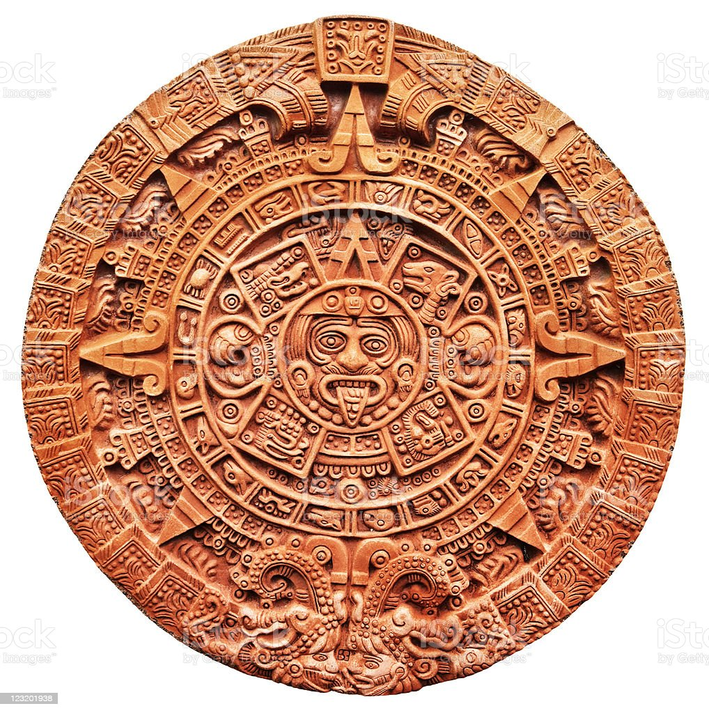 Aztec calendar Stone of the Sun royalty-free stock photo