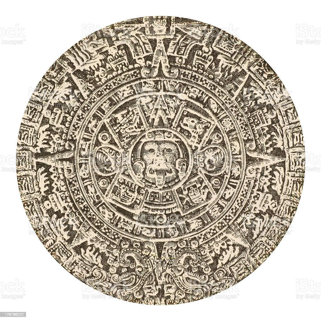Aztec calendar sun stone from Mexico stock photo