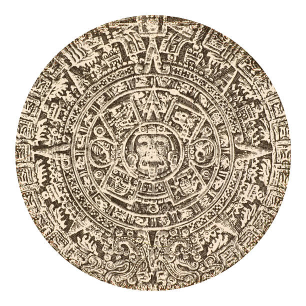 Aztec calendar sun stone from Mexico stock photo