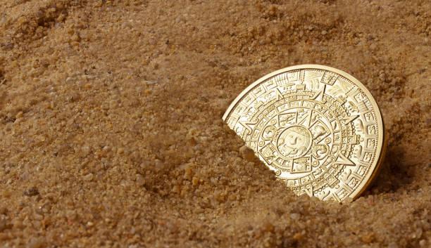 Aztec coin. stock photo
