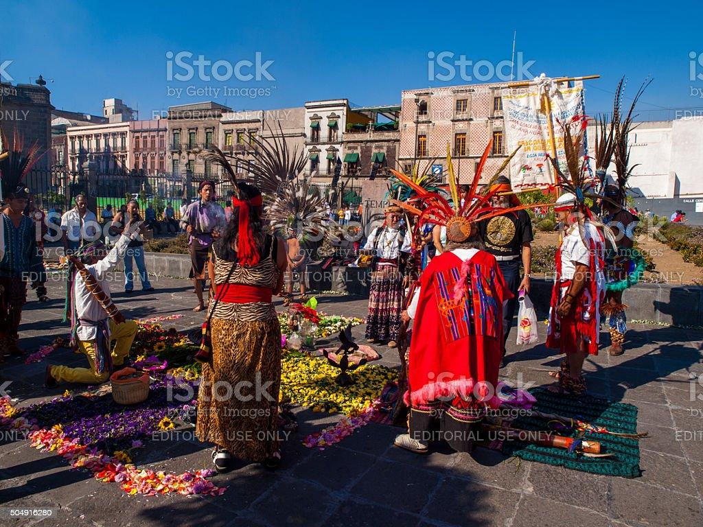 Aztec Dancers Mexico City stock photo