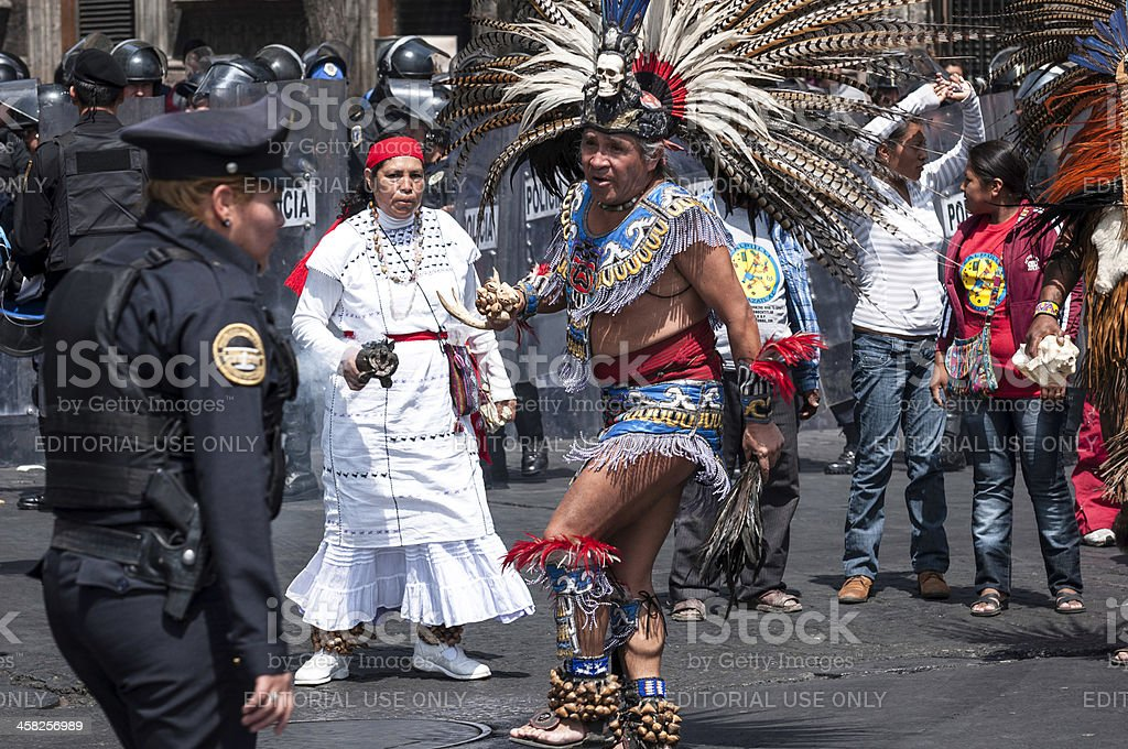 Aztec dancers stop the traffic in Mexico City stock photo