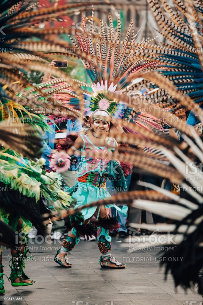 Aztec dances, Mexico City stock photo