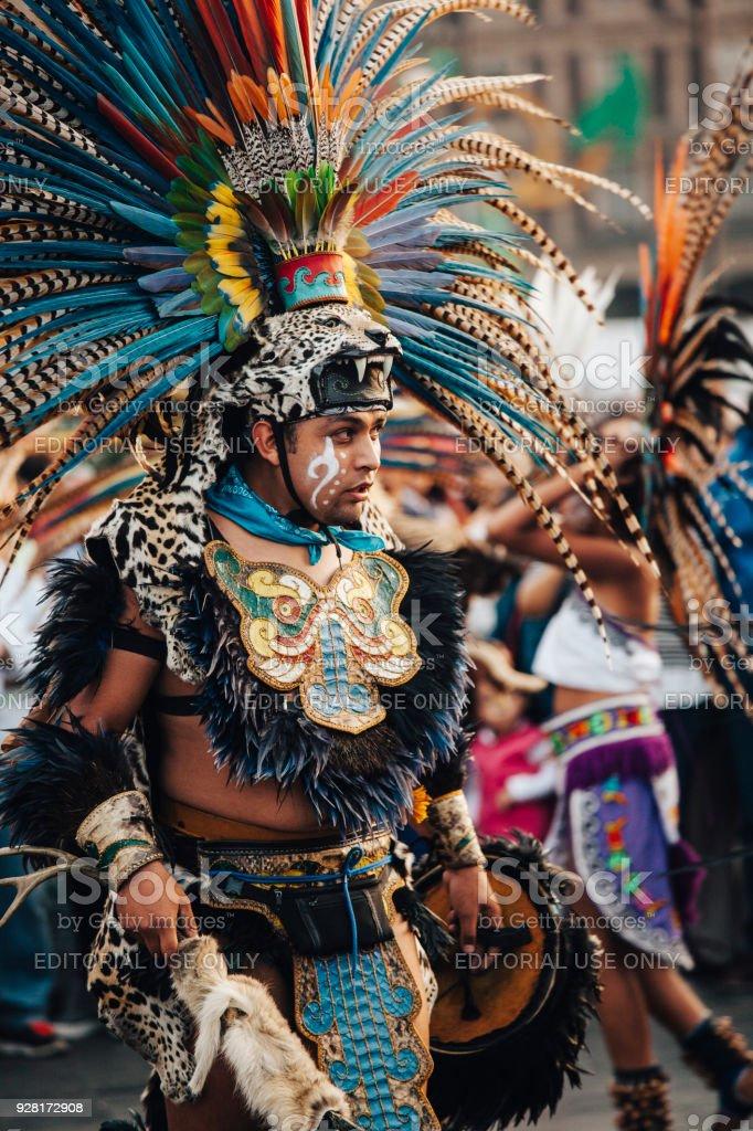 Aztec dances, Mexico City stock photo