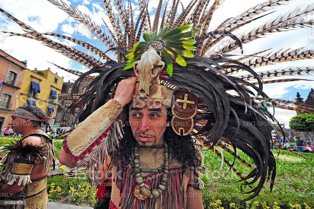 Aztec folklore in Zocalo Square, Mexico City stock photo