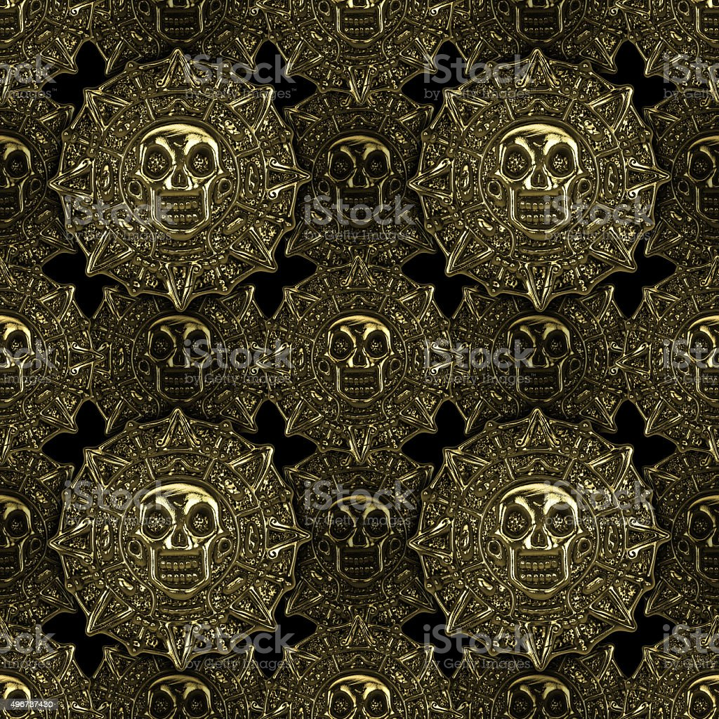 Aztec golden coins seamless pattern stock photo