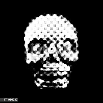Aztec prehispanic skull performed with small circles in black and white.